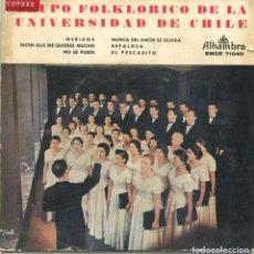 Discos de vinilo: GRUPO FOLKLORICO DE LA UNIVERSIDAD DE CHILE / MERIANA + 5 (EP 1959). Lote 169815448
