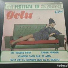 Discos de vinilo: GELU XVII FESTIVAL DE SANREMO DISCO EP NO PIENSES EN MI + 3 AÑO 1967 LA VOZ DE SU AMO EMI. Lote 169827444