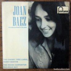 Discos de vinilo: JOAN BAEZ - CHERRY TREE CAROL - HENRY MARTIN / HOUSE CARPENTER - RAILROAD BOY - 1962 - MONO - EP. Lote 169889756