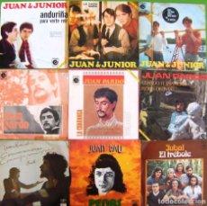Discos de vinilo: LOTE 9 SINGLES: JUAN PARDO, JUAN Y JUNIOR, JUAN BAU, JUBAL. Lote 170010376