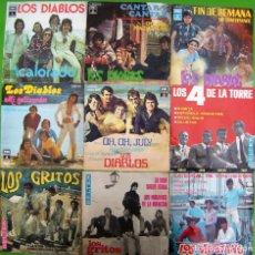 Discos de vinilo: LOTE 9 SINGLES: LOS DIABLOS, LOS DE LA TORRE, LOS GRITOS, LOS MUSTANG. Lote 170012744