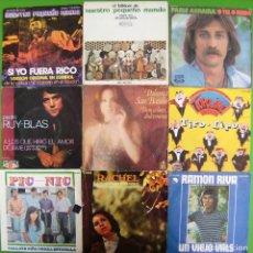 Discos de vinilo: LOTE 9 SINGLES: NUESTRO PEQUEÑO MUNDO, PEDRO RUY BLAS, RAMON RIVA, PABLO ABRAIRA. Lote 170014196