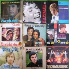 Discos de vinilo: LOTE 9 SINGLES: RAPHAEL, SANTABARBARA, TONY LANDA, TONY CRUZ, TENNESSEE, SERGIO Y ESTIBALIZ. Lote 170014740