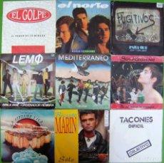 Discos de vinilo: LOTE 9 SINGLES: LEMO, EL GOLPE, EL NORTE, MEDITERRANEO, SIN RECURSOS, TACONES, FUGITIVOS,LA HERENCIA. Lote 170015516