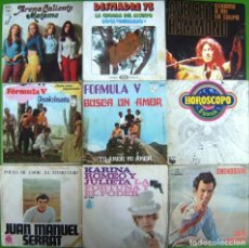 Discos de vinilo: LOTE 9 SINGLES: FORMULA V, ARENA CALIENTE, KARINA, SERRAT, DESMADRE 75, JULIO IGLESIAS. Lote 170016004