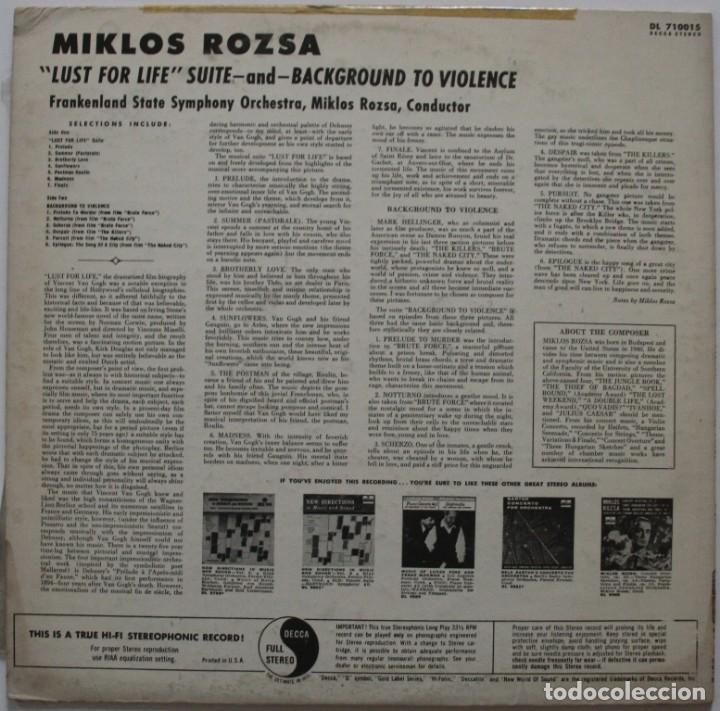 Discos de vinilo: EL LOCO DEL PELO ROJO. LUST FOR LIFE Y +++. MIKLOS ROZSA - Foto 2 - 170029252
