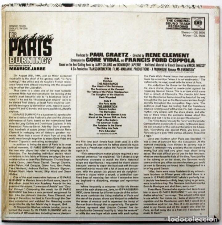 Discos de vinilo: ARDE PARÍS. IS PARIS BURNING. MAURICE JARRE - Foto 2 - 170081284