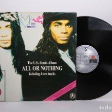 Discos de vinilo: DISCO LP DE VINILO - MILLI VANILLI / ALL OR NOTHING - ARIOLA - AÑO 1989. Lote 170088740