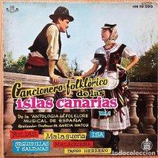 Discos de vinilo: CANCIONERO FOLKLÓRICO DE LAS ISLAS CANARIAS VOL.1 - EP HISPAVOX 1961 . Lote 170243488