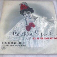 Discos de vinilo: CONCHITA SUPERVIA SINGS CARMEN. PARLOPHONE. ENGLAND.. Lote 170287936