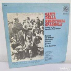 Discos de vinilo: CANTI DELLA RESISTENZA SPAGNOLA. LP VINILO. VEDETTE RECORDS ALBTROS 1968. VER FOTOGRAFIAS. Lote 170328532