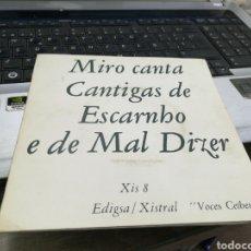 Discos de vinilo: MIRO CANTA CANTIGAS DE ESCARNHO E DE MAL DIZER SINGLE 1969. Lote 170349829