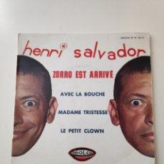 Discos de vinilo: CR HENRI SALVADOR - ZORRO EST ARRIVÉ + 3 E.P. RARO EDITADO POR RIGOLO EN FRANCIA. Lote 170366102