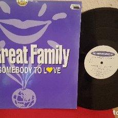 Discos de vinilo: ANTIGUO VINTAGE DISCO DE VINILO LP THE GREAT FAMILY SOMEBODY TO LOVE 1995 X ENERGY. Lote 170452128
