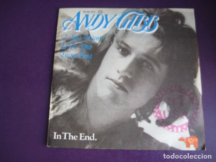 ANDY GIBB SG RSO 1977 I JUST WANT TO BE YOUR EVERYTHING+1 BALADA POP 70'S SIN USO - BEE GEES (Música - Discos - Singles Vinilo - Pop - Rock - Extranjero de los 70)