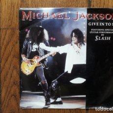 Discos de vinilo: MICHAEL JACKSON CON SLASH - GIVE IN TO ME (VOCAL VERSION) + DIRTY DIANA (EDIT) . Lote 170493980