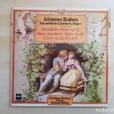 Discos de vinilo: JOHANNES BRAHMS - LA OBRA CORAL MUNDANA, SERIE 1 - DOBLE LP VINILO - EDIGSA - 1982. Lote 170521360