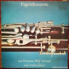Discos de vinilo: CONCIERTOS DE FAGOT DE ERMANNO WOLF-FERRARI Y ANDRE JOLIVET. SELLO MELODÍA, RUSIA 1976. Lote 170566204