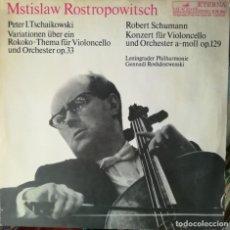 Discos de vinilo: ROSTROPOVICH INTERPRETA A CHAIKOVSKI Y SCHUMANN. SELLO MELODÍA, RUSIA. Lote 170567116