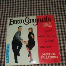 Discos de vinilo: ENNIO SANGIUSTO CANTA EN ESPAÑOL, SPEEDY GONZALES, HABIBI TWIST, GIGOLO, EL PIRATA, BELTER 1962.. Lote 170635120