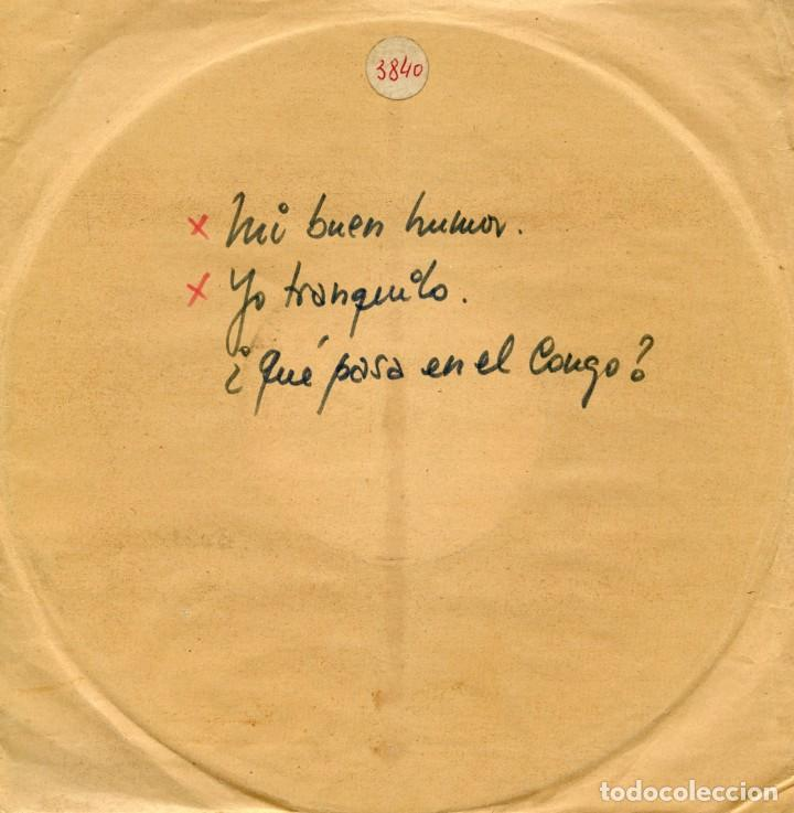 ACETATO DE LA GRABACIÓN ORIGINAL ¿QUÉ PASA EN EL CONGO? DE DODO ESCOLÁ. (Música - Discos - Singles Vinilo - Solistas Españoles de los 50 y 60)