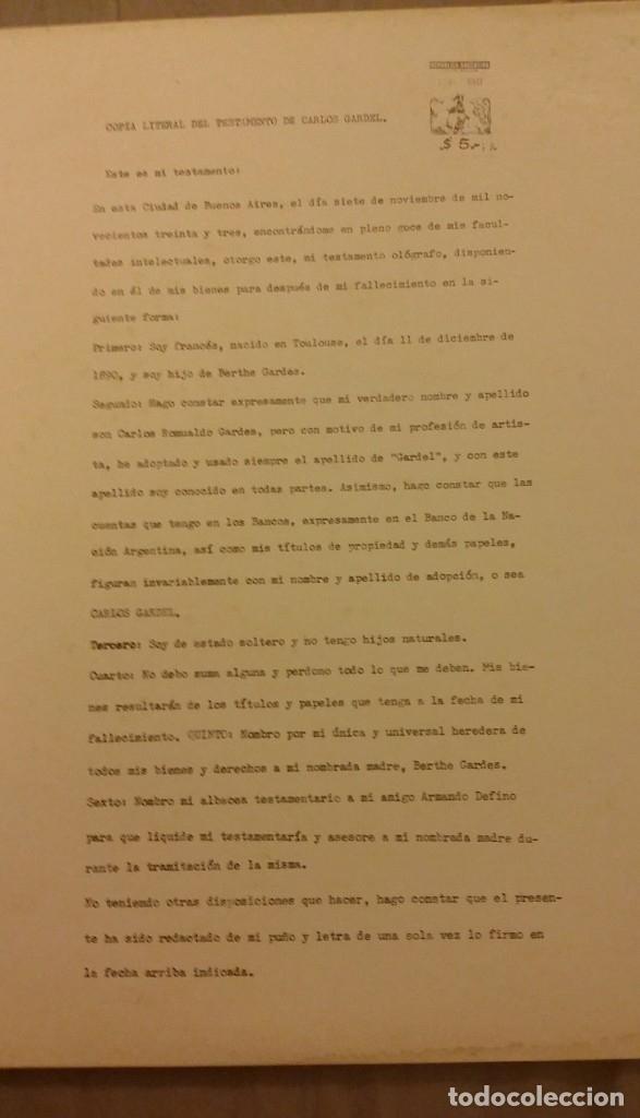 Discos de vinilo: 3 Lp vinilo 1963 Homenaje Carlos Gardel XVIII Aniversario Muerte Edición limitada Fotos y testamento - Foto 21 - 108723483