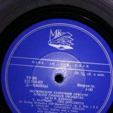 Discos de vinilo: VIVALDI, ALBINONI Y MOZART. ORQUESTA DE CÁMARA DE MOSCÚ. VINILO GRABADO EN RUSIA. Lote 170912745