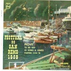 Discos de vinilo: FESTIVAL DE SAN REMO 1959 - ARTURO TESTA CANTA: PIOVE + 3 TEMAS - EP PHILIPS. Lote 170926658