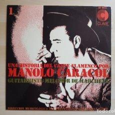 Discos de vinilo: UNA HISTORIA DEL CANTE FLAMENCO POR MANOLO CARACOL - MELCHOR DE MARCHENA - LP VINILO - CLAVE - 1968. Lote 170933525