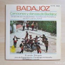 Discos de vinilo: BADAJOZ - CANCIONES Y DANZAS DE BADAJOZ - SINGLE VINILO - HISPAVOX - 1963. Lote 170940210