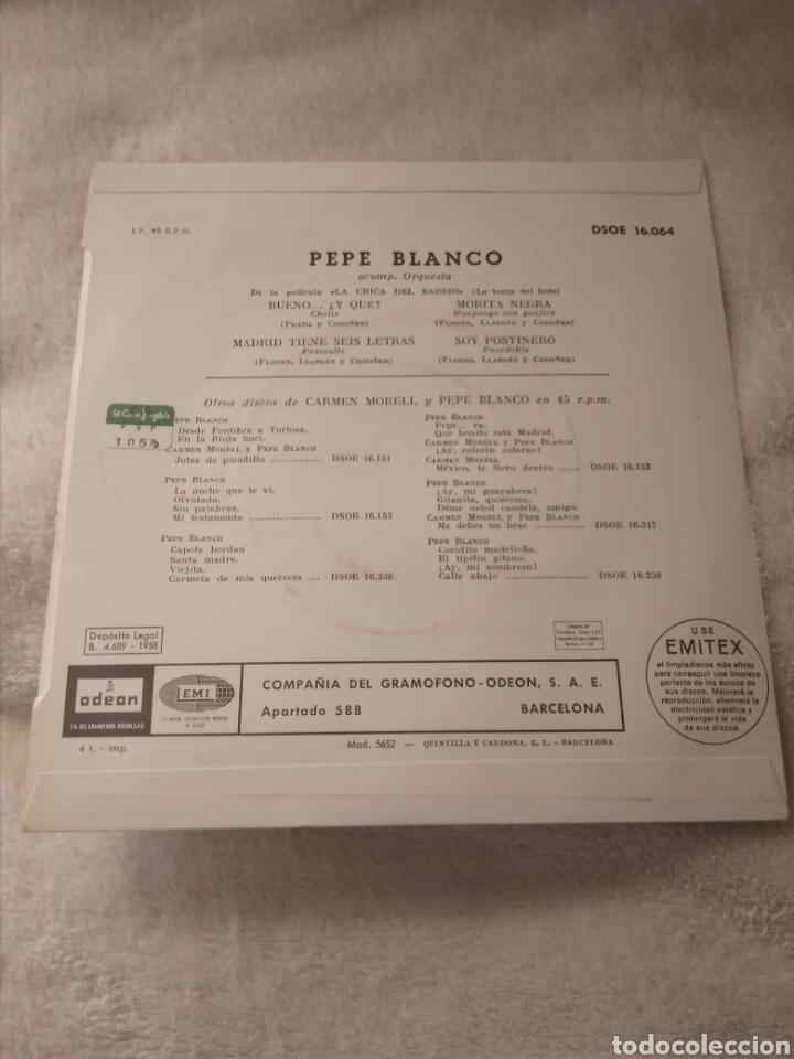 Discos de vinilo: 3 discos single vinilo Pepe Blanco y Carmen Morell - Foto 2 - 170948397