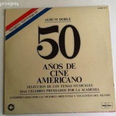 Discos de vinilo: L.P. BANDA SONORA ORIGINAL, 50 AÑOS DE CINE AMERICANO. ALBUM DOBLE. VER FOTOS.. Lote 170984728