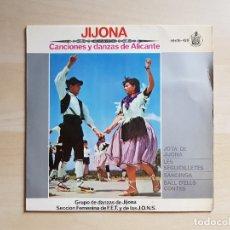 Discos de vinilo: JIJONA - CANCIONES Y DANZAS DE ALICANTE - SINGLE VINILO - HISPAVOX - 1963. Lote 171008367
