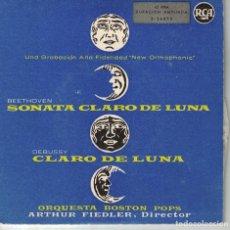 Discos de vinilo: BEETHOVEN-SONATA CLARO DE LUNA / DEBUSSY-CLARO DE LUNA (VER FOTO ADJUNTA) (RCA SIN FECHA). Lote 179055570