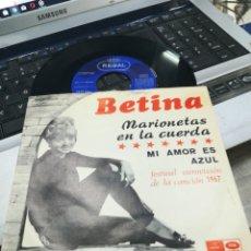 Discos de vinilo: BETINA SINGLE MARIONETAS EN LA CUERDA 1967. Lote 171105554