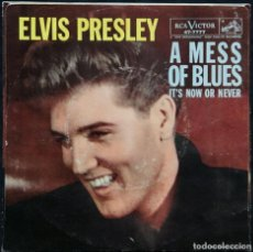Discos de vinilo: ELVIS PRESLEY - IT'S NOW OR NEVER / A MESS OF BLUES / - USA SINGLE ©1960 - RCA VICTOR 47-7777. Lote 171107794