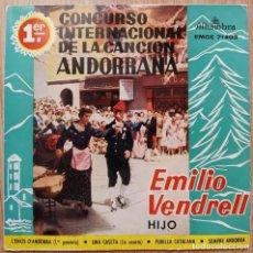 Discos de vinilo: EMILIO VENDRELL (HIJO) - 1ER CONCURSO INTERNACIONAL DE LA CANCION ANDORRANA - EP SPAIN 1960. Lote 171110392