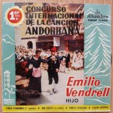 Discos de vinilo: EMILIO VENDRELL (HIJO) - 1ER CONCURSO INTERNACIONAL DE LA CANCION ANDORRANA - EP SPAIN 1960. Lote 171111947