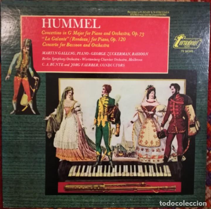 HUMMEL (1778-1837). 2 CONCIERTOS Y LA GALANTE PARA PIANO (Música - Discos de Vinilo - EPs - Clásica, Ópera, Zarzuela y Marchas)