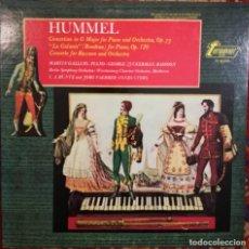 Discos de vinilo: HUMMEL (1778-1837). 2 CONCIERTOS Y LA GALANTE PARA PIANO. Lote 171132274