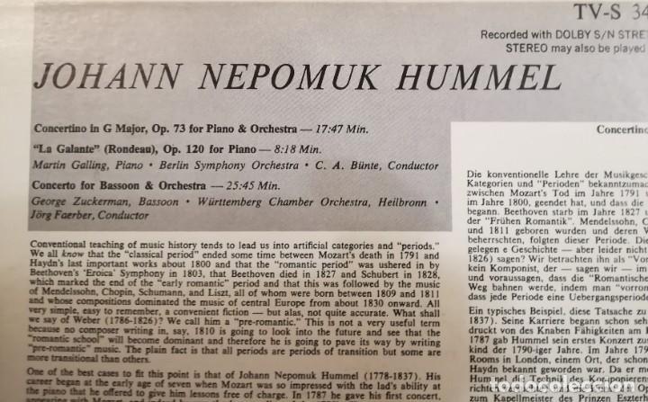 Discos de vinilo: Hummel (1778-1837). 2 conciertos y La galante para piano - Foto 3 - 171132274