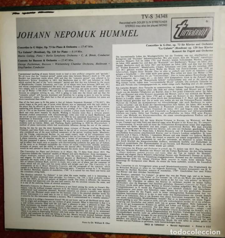 Discos de vinilo: Hummel (1778-1837). 2 conciertos y La galante para piano - Foto 4 - 171132274