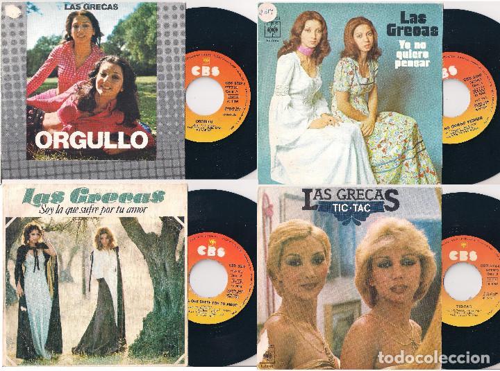 LAS GRECAS. LOTE DE 4 SINGLES. CBS 1974, 1975 Y 1977 (Música - Discos - Singles Vinilo - Grupos Españoles de los 70 y 80)
