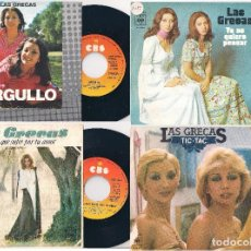 Discos de vinilo: LAS GRECAS. LOTE DE 4 SINGLES. CBS 1974, 1975 Y 1977. Lote 171150870