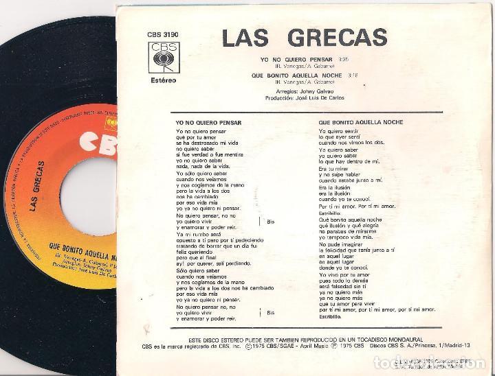 Discos de vinilo: Las Grecas. Lote de 4 singles. CBS 1974, 1975 y 1977 - Foto 9 - 171150870