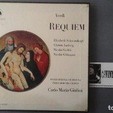 Discos de vinilo: VERDI REQUIEM-LUDWIG-SCHWARZKOPF-GIULINI CAJA 2 LP 1967 EDICIÓN UK. Lote 171175069