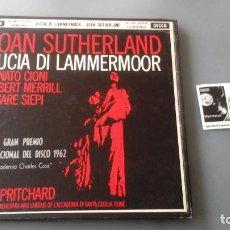 Discos de vinilo: JOAN SUTHERLAND - JOHN PRITCHARD - LUCIA DI LAMMERMOOR CAJA DECCA ?– MET 212-13-14. Lote 171180964