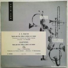Discos de vinilo: BACH Y HAENDEL. ORQUESTA TEATRO BOLSHOI. PIANISTA CHTCHERBINA. VINILO GRABADO EN RUSIA. Lote 171183593