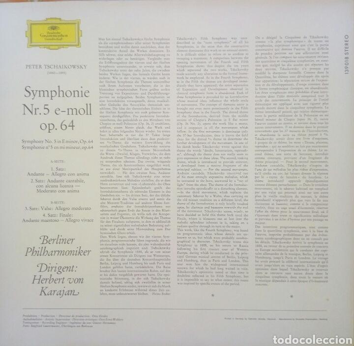 Discos de vinilo: Tchaikovsky. SINFONÍA 5. Karajan. DEUTSCHE GRAMMOPHON. (1Lp) - Foto 2 - 171187700