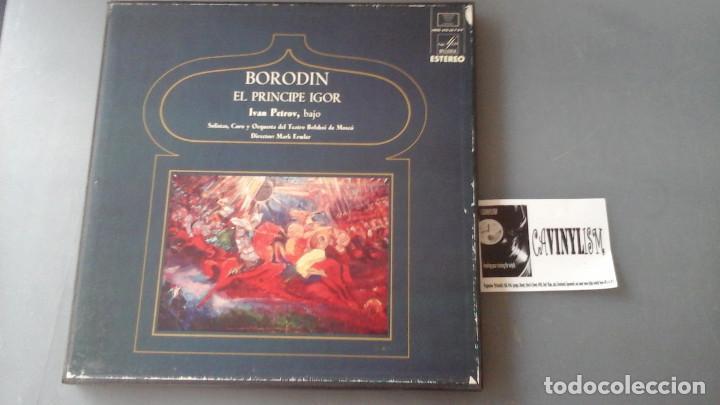 BORODIN - CHOIR AND ORCHESTRA OF THE BOLSHOI THEATRE / MARK ERMLER ?– EL PRINCIPE IGOR CAJA 4 LPS (Música - Discos de Vinilo - EPs - Clásica, Ópera, Zarzuela y Marchas)